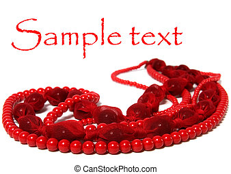 red beads isolated on white background