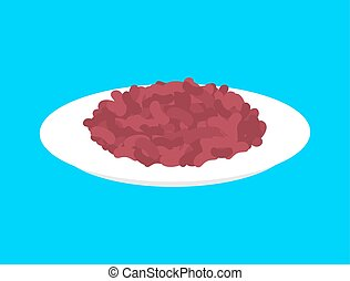 Red bean cereal in plate isolated. Healthy food for breakfast. Vector illustration