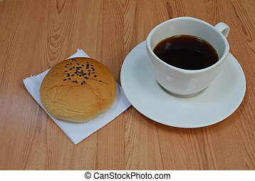 red bean filling bun and coffee