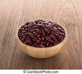 Red bean in a wooden bowl