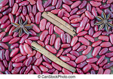 Red beans on the wooden floor