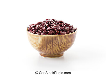 red beans on white background
