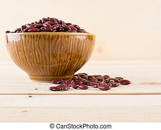red beans on wood background
