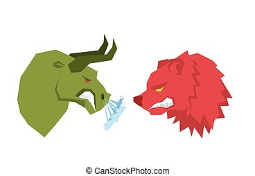 Red Bear and green bull. Traders on tock exchange symbols. Confrontation Businessmen. Allegory illustration for business infographics