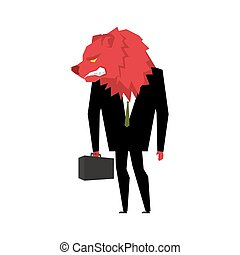 Red Bear Businessman. Player on the stock exchange with bears head. Wicked Wild animal with briefcase and tie. Beast in business suit. Metaphor Trader in Financial Exchange
