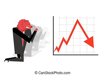 Red Bear prays for fall in rate of exchange. Red down arrow. Worship of money. Businessman Prayer quotes. Trader kneeling before schedule. Allegory illustration for magazine business. Financial idol