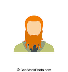 Red bearded man icon, flat style
