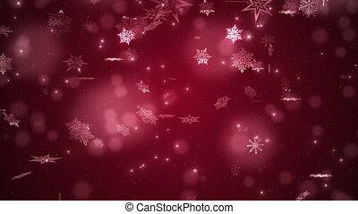 Red beautiful falling snowflakes