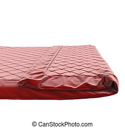 Red bed cover, isolated on white.