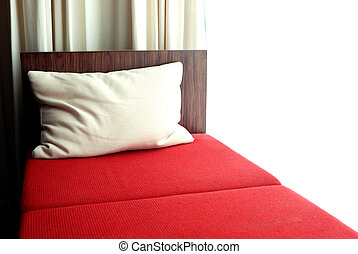 Red bed in the bedroom