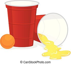 Red Beer Pong plastic cup with Ball and Spill of Beer