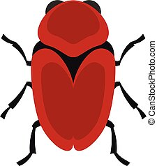 Red beetle icon, flat style