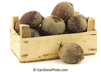 red beets in a wooden crate