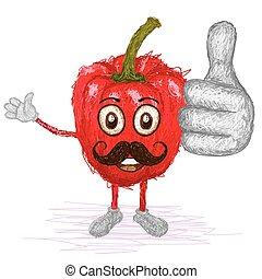 red bell pepper mustache