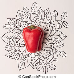 Red bell pepper over outline floral background - Red bell...