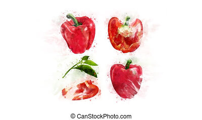 Red bell pepper whole and in a cut - Animation of the...