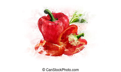 Red bell pepper with alpha channel - Animation of the...