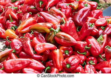 Red bell peppers close up.