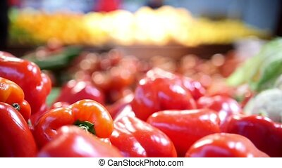 Red bell peppers in grocery vegetable Department of...
