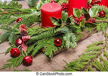 Red bells and Christmas centerpiece - Red bells on a...
