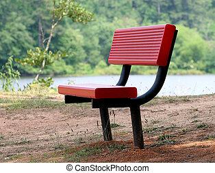 Red Bench at Lake