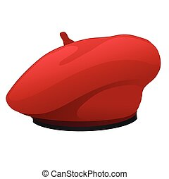 Red beret hat isolated on white background. Vector cartoon close-up illustration.