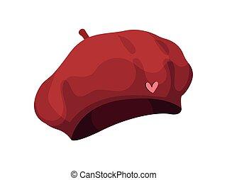 Red beret. Vector illustration on white background.