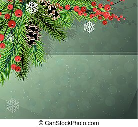 Red berries, fir-tree and cones. - Spruce branches with...