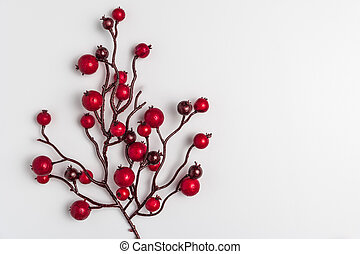 Red berries holly on white. Image of Christmas.