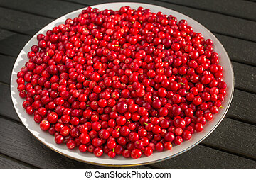 Red berries on a white plate