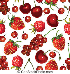 Red berries seamless pattern - Seamless pattern of realistic...