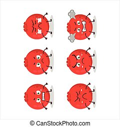 Red berry cartoon character with various angry expressions