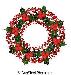 Red Berry Christmas Wreath isolated on White Background.