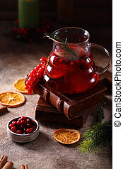 red berry tea with cinnamon and orange