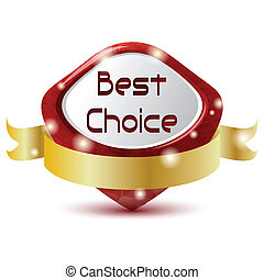 red best choice symbol with golden ribbon
