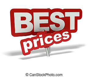 red best prices tag over a white background