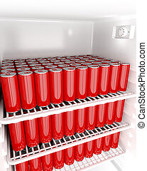 Red beverage cans in refridgerator