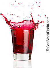 Red beverage splash