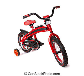 bicycle for children - red bicycle for children isolated on...