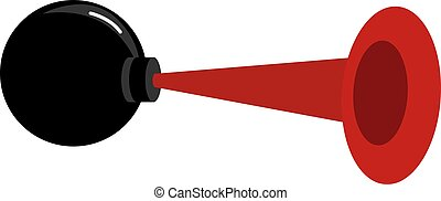 Red bicycle horn, illustration, vector on white background.