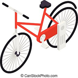 Red bicycle icon, isometric style