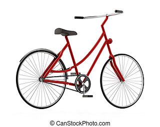 Red bicycle isolated on white background. 3D illustration