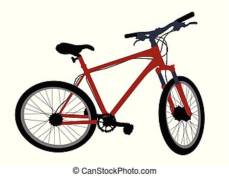 Red bicycle on white background, vector illustration