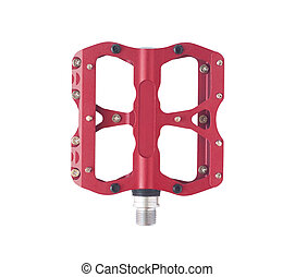 Red bicycle pedal