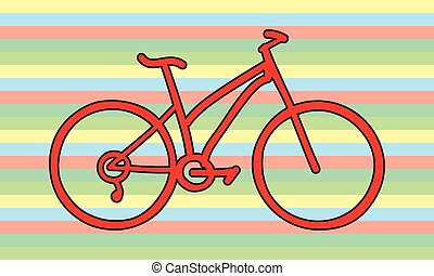 red bicycle rainbow colors