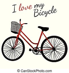 Red bicycle with basket on white