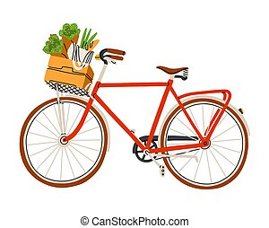 Red bicycle with flowers and groceries in a basket, vector illustration
