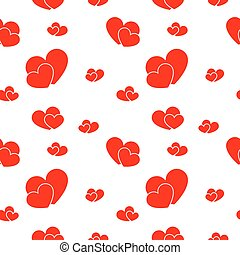 Red big and small hearts