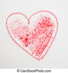 red big heart shape. pencil drawing