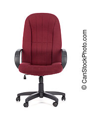 Red big office chair. Isolated